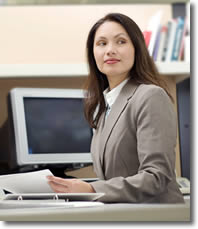 The Bookkeepers bookkeeping, payroll and taxes,  woman at desk